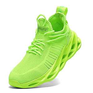 Nihaoya Mens Walking Shoes Athletic,Men Casual Sneakers Shoes Fluorescent Green 8.5