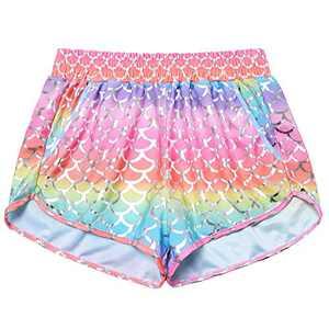 Women Mermaid Halloween Costume Rainbow Metallic Short Neon Pants Rave Bottom