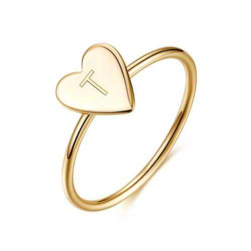 Memorjew Initial Rings for Girls Women, 925 Sterling Silver Dainty Letter T Initial Heart Stacking Ring Gold Rings for Women Teen Girls Kids Jewelry Gifts, Mother's Valentines Day Girlfriend Gifts