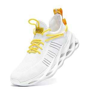 Nihaoya Walking Athletic for Men Breathable,Men Sneakers Shoes Slip on White 8