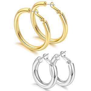 sovesi 2 Pairs Chunky Hoop Earrings 14K Gold Plated Post 5MM Thick Tube Hoops for Women Gold50mm/Silver30mm
