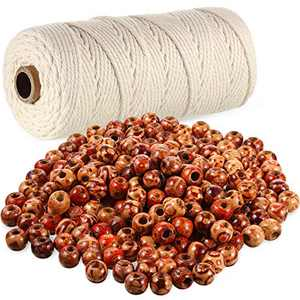 3 mm x 110 Yards Cotton Macrame Rope Natural Cotton Cord with 200 Pieces 10 mm Wooden Painted Beads for Macrame Rosary Bracelet Wall Hanging Crafts, Knitting Decorative Projects