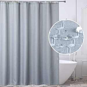 BUZIO Fabric Shower Curtain with 12 Hooks, Polyester Waterproof Waffle Bathroom Curtain, Washable Quick-Drying Weighted Hem Curtain, 71 x 71 inches, Grey