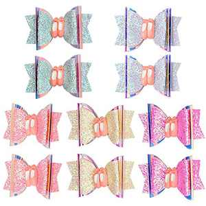 10pcs Girls Hair Bows 3 Inch Glitter Hair Bows for Girls Grosgrain Ribbon with Alligator Clips Hair Accessories for Baby Girls Toddlers Teens