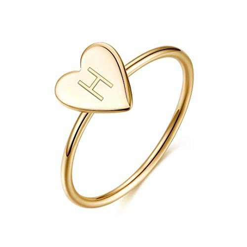 Initial Rings for Girls Women, 925 Sterling Silver Dainty Letter H Initial Heart Stacking Ring Gold Rings for Women Teen Girls Kids Jewelry Gifts, Mother's Valentines Day Girls Gifts for Her