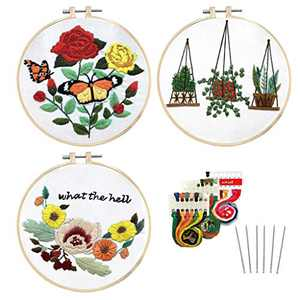 Louise Maelys 3 Pack Embroidery Kit for Beginners Adults Kids with Floral Plants Pattern Cross Stitch Kits for Handmade Lovers As a Gift or Decoration