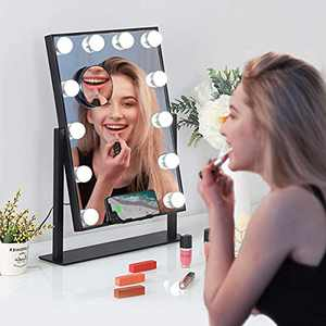Misavanity Large Hollywood Vanity Makeup Mirror with Wireless Charger, Lighted Makeup Mirror with Lights and 10X Magnification, Beauty Cosmetic Mirror with 12pcs LED Dimmable Lights for Dressing Room