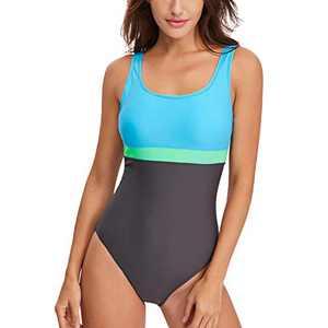 Lu's Chic Women's Modest One Piece Racing Swimsuit Training Color Block Low Back Swimwear Blue 8