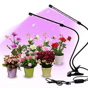Gardguard LED Grow Lights, 20W Dual Head Red Blue Spectrum Plant Lights, 40 LED Lamps 9 Dimmable Brightness Plant Lights, 3 Switch Modes with Auto ON/Off 3/9/12H Timing for Plants (Extended USB cable)