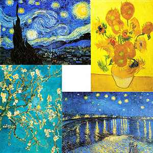 4 Pack 5D DIY Diamond Painting Kits for Adults Kids, Full Crystal Drill Rhinestone Van Gogh Diamond Pictures Art Crafts for Home Wall Decor Gift - 12x16 Inch