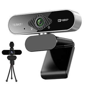 1080P Webcam with Microphone, Full HD web camera for Desktop & Laptop, USB Webcam with Privacy Cover and Tripod, Auto Light Correction, Wide Angle Lens, for Video Calling, Conferencing and Streaming