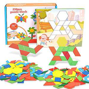Lekebaby Pattern Block 250 PCS Geometric Shape Puzzle - Classic Kindergarten Educational Montessori Tangram Toys for Kids Ages 3 4 5 6 7 8