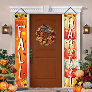 Bonsai Tree Fall Decorations Outdoor, Happy Fall Harvest Porch Signs, Autumn Pumpkin Sunflower Thanksgiving Vertical Hanging Banners for Home Decor Front Door Wall Yard Indoor 12 x 71 Inches