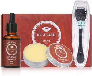 3 PCS Beard Grooming Kit,Beard Growth Care Set Beard Oil Beard Balm Beard Roller with Roller Box Mens Gifts for Men