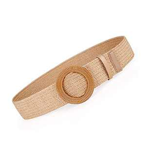 Women Belts For Dresses, Elastic Straw Rattan Waist Band With Wood Buckle
