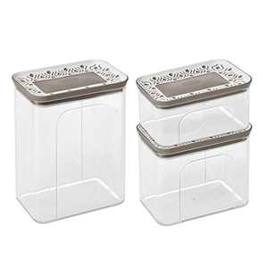 Clear Acrylic Canister Set of 3 - Dry Goods Storage Containers Airtight - Kitchen Containers for Food Storage with Lids - Cookie Jars for Kitchen Counter Decorative - Made in Italy