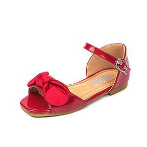 Cute Bow Synthetic Red Patent Leather Flat Sandals for Toddler Girls and Little Kid Girl,Trendy New Girls Summer Flat Shoes for Children Girl Size 13