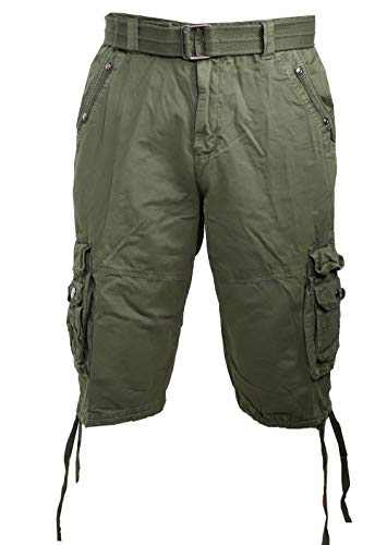 Facitisu Work Shorts for Men Cotton Twill Cargo Shorts Relaxed Fit Multi Pocket Casual Lightweight Belted Shorts Olive Size 40