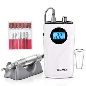 AEVO Portable Nail Drill Machine – 30000 rpm Rechargeable Professional Nail Kit, Cordless Electric Tool for Removing Acrylic Nails & Gel Nails, Manicuring & Polishing Cuticles – for Salon or Home Use