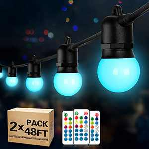 2-Pack 48FT RGB Outdoor LED String Lights, Remote Control Dimmable String Lights, 30+5 G45 Edison Shatterproof Bulbs, Waterproof Patio Lights for Garden, Party, Cafe, Wedding, Christmas(96FT Total)