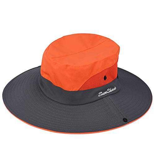 Sowift Women Sun Hat Wide Brim Lightweight Mesh Summer Cap Outdoor Fishing Hats UV Protection Orange
