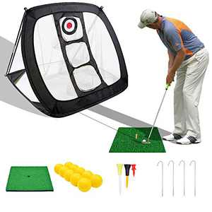 Veggicy Golf Chipping Net, Golf Net Indoor Outdoor Collapsible Golf Net Accessories Golf Target Net - for Accuracy and Swing Practice, with A Golf Hitting Mat and Carry Bag