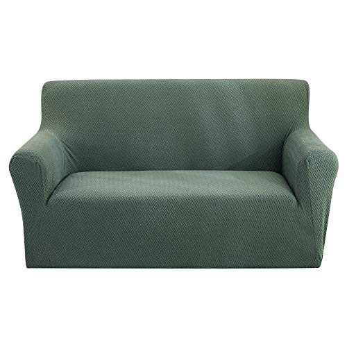 Hoomall Super-Stretch Sofa Slipcover, Spandex Jacquard 1-Piece Sofa Cover Furniture Protector with Elastic Bottom and Anti-Slip Foam (Light Green)