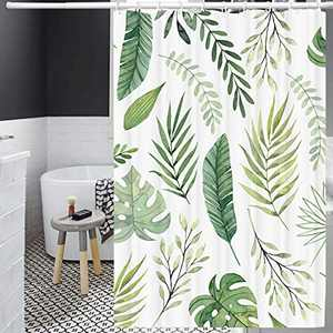 YOLETO Shower Curtain Set with 12 PCs Hooks for Bathroom / Farmhouse / Christmas ( Green Plants, 72x72 Inch)