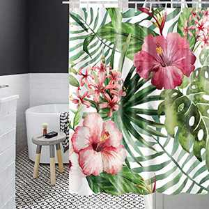 YOLETO Shower Curtain Set with 12 PCs Hooks for Bathroom / Farmhouse / Christmas ( Red Flowers , 72x72 Inch)