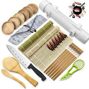 26 PCS Sushi Making Kit,Diy All In One Sushi Bazooka Maker with Bamboo Sushi Mat,Bamboo Chopsticks,Spreader, Sushi Knife,Cotton Bag,Sushi Roller Machine,Sauce Dish