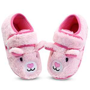 Girls Pink Fuzzy House Slippers Anti-Slip Bedroom Slippers for Kids Little Girls US 11