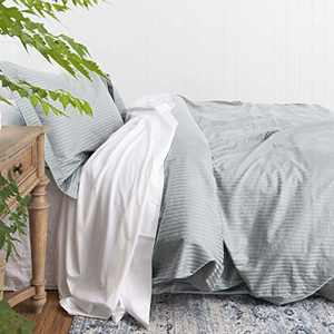 Duvet Cover Silver Grey Twin, Classic Damask Pinstripe Pattern, 100% Long Staple Cotton 400TC with Silky & Luxury Sateen Woven, Cool & Breathable, Luxury Royal Hotel Style Clean Look Duvet Cover Set