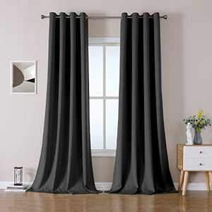 OWENIE 100% Blackout Heavy Weight Double-face Window Curtains for Bedroom Living Room, Thermal Insulated Solid Grommet Drapes,Linen Texture Look Burlap Curtains, 52 x 96 Inch, Dark Grey (2 Panel)