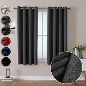 OWENIE 100% Blackout Heavy Weight Double-face Window Curtains for Bedroom Living Room, Thermal Insulated Solid Grommet Drapes, 52 x 63 Inch, Dark Grey (2 Panel)