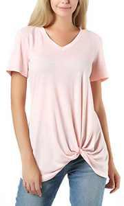 ichwill Women's V Neck Short Sleeve Casual T-Shirt Tops Twist Knot Tunics Pink