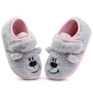 Girls Fuzzy Warm House Slippers Anti-Slip Bedroom Slippers for Kids Toddler US 9