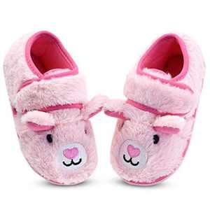 Girls Pink Fuzzy House Slippers Anti-Slip Bedroom Slippers for Kids Little Girls US 12