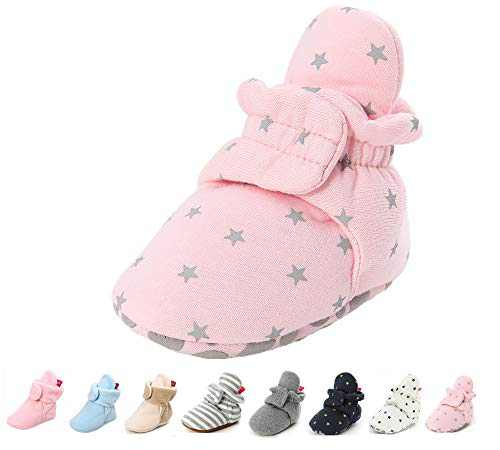 Newborn Baby Boys Girls Cozy Fleece Booties Soft Non Slip Grips Sole Winter Socks Crib Shoes for Infant Toddler First Walkers