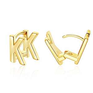 Initial Stud Earrings for Women 14K Gold Plated Letter K Earrings Jewelry Gifts for Her