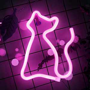 SMILCO LED Neon Signs, Neon Sign Shaped Decor Light, Neon Decorative Light for Wall Decor, Bedroom, Party Supplies, Girls Room Decoration Accessory, Birthday and Wedding Party (Pink-Cat)