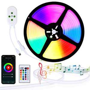 Lamomo LED Neon Rope Light RGB Color Changing Light Strip,WiFi Bluethooth 16.4ft Phone App Control Compatible with Alexa, Silicone IP23 Waterproof Rope Lights with Remote Music Sync for Party