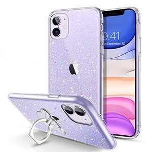 BENTOBEN iPhone 11 Case, Slim Thin Shinny Glitters   360° Ring Holder Kickstand   Hybrid Soft TPU Bumper Shockproof Drop Protection Anti-Scratch Non-Slip Sparkle Girls Women iPhone 11 Covers, Clear