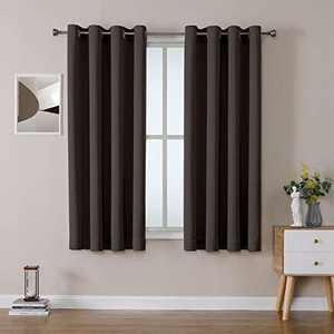 OWENIE Total Blackout Double-face Panels 63 inches Long, Heavy and Thick Window Treatments for Short Windows, Soft and Smooth, 52x63 Inch, Chocolate (2 Panels)