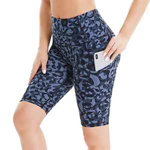 "HIGHDAYS Biker Shorts for Women with Pockets - 8"" High Waist Tummy Control Workout Running Yoga Shorts"