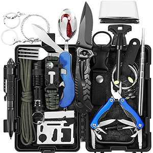 Tolaccea 17-in-1 Survival Kit, Gift for Men Dad Father's Day, Tactical First Aid Supplies, Survival Gear and Equipment for Outdoor Emergency, Adventure, Camping, Hiking, Fishing, Hunting