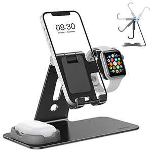OMOTON Adjustable Apple Watch Stand, Triunity Charging Dock For iWatch, AirPod and iPhone 13/12 Pro Max/Pro/Mini/11/XR/XS/6/7/8 Plus, Original Apple Watch Magnetic Charging Cable Required, Black