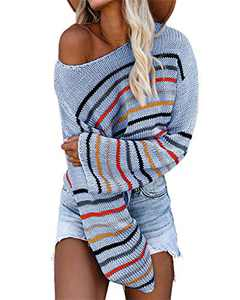 Tutorutor Womens Striped Pullover Sweaters Oversized Off Shoulder Rainbow Loose Knit Crop Tops