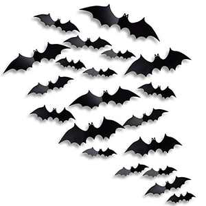 Antner Halloween Party Supplies PVC 3D Bats Halloween DIY Decorative Scary Bats Wall Decal Wall Sticker, Halloween Eve Decor Window Decal Party Decoration, 36pcs, Black