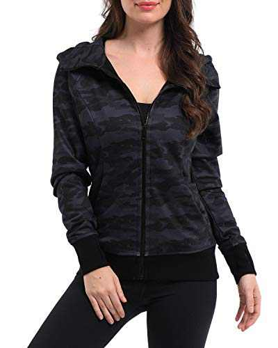 Promover Womens Zip Up Hoodie Sweater Athletic Long Sleeve Printed Jacket Lightweight Sweatshirts with Pockets (black camo, M)