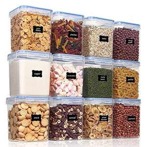 Vtopmart Airtight Food Storage Containers 12 Pieces 2.3qt / 2.5L- Plastic PBA Free Kitchen Pantry Storage Containers for Sugar, Flour and Baking Supplies - Dishwasher Safe - Include 24 Labels, Blue